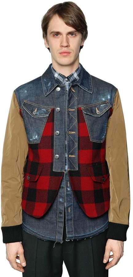 DSQUARED2 Patchwork Plaid, Denim & Leather Jacket