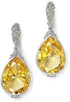 Judith Ripka Bermuda Pear Drop Earrings with Canary Crystal
