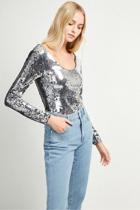 French Connection Zena Sequin Jersey Bodysuit