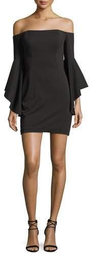 La Femme Off-the-Shoulder Flounce-Sleeve Cocktail Dress