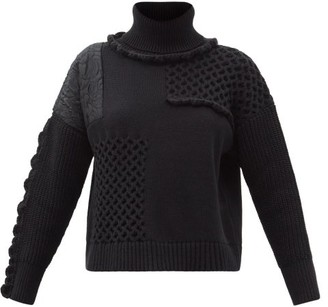 Cecilie Bahnsen Franki Scalloped Patchwork Roll-neck Sweater - Black