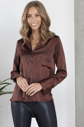 Hey You Bronze Printed Satin Effect Shirt/Blouse