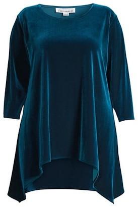 Caroline Rose, Plus Size Stretch Velvet Side Fall Tunic