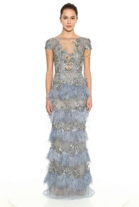 Marchesa Tulle Illusion Neckline Column Gown