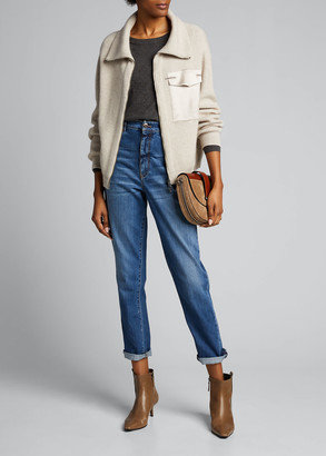 Brunello Cucinelli Wide Ribbed Cashmere Zip-Front Cardigan