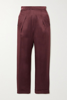 SLEEPING WITH JACQUES The Lenny Pleated Silk-satin Pants - Brown
