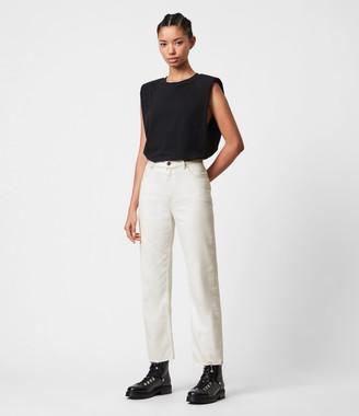 AllSaints Cali High-Rise Straight Jeans, Natural White