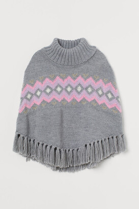 H&M Knitted polo-neck poncho