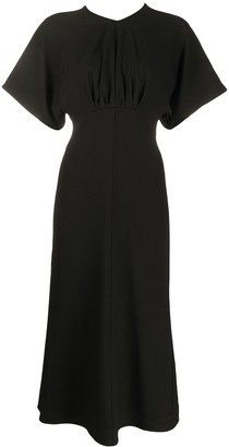 Victoria Beckham Flared Short-Sleeve Midi Dress