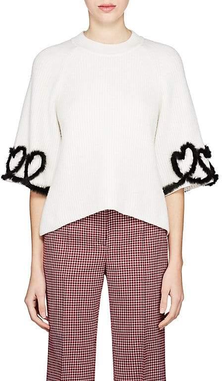 Fendi Women's Heart-Detailed Rib-Knit Wool-Blend Top