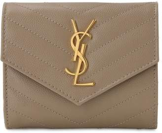 Saint Laurent COMPACT 3-FOLD QUILTED LEATHER WALLET