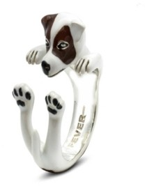 Dog Fever Jack Russel Terrier Hug Ring in Sterling Silver and Enamel