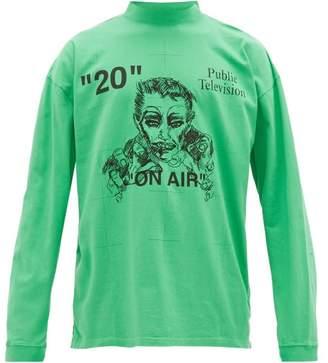 Off-White Off White X Mirko Embroidered Logo-print Cotton T-shirt - Mens - Green Multi