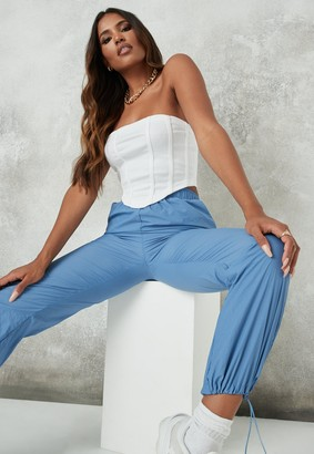 Missguided White Rib Structured Bandeau Corset Top
