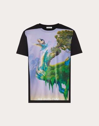 Valentino Dragons Garden Print T-shirt Man Black/violet 100% Cotone L