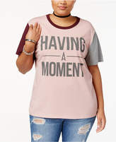 Hybrid Trendy Plus Size Colorblocked Graphic T-Shirt