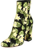 Gianvito Rossi Floral-Print Block-Heel Boot, Yellow