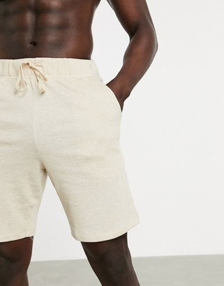 ASOS DESIGN lounge pyjama shorts in beige jersey