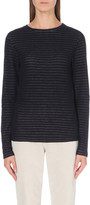The White Company Jacquard-stripe knitted top