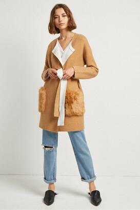French Connection Vhari Faux Fur Pocket Cardigan
