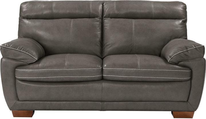 Cindy Crawford Home Casa Moderna Gray Leather Loveseat