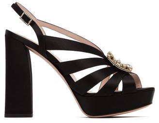 Roger Vivier Crystal-buckle Satin Platform Sandals - Black