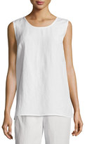 Caroline Rose Sleeveless Gauze Long Tank, White