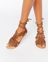 Missguided Leather Tie Up Braid Sandal