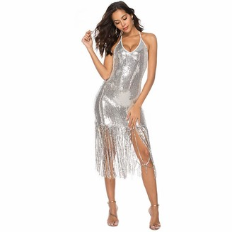 Oysohe Dresses Dress of Women OYSOHE Women Sexy Solid V-Neck Sequined Shining Tassel Hem Mini Dress Party Dress Silver