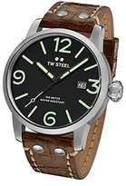 TW Steel Men's 'Maverick' Quartz Stainless and Leather Casual Watch, Color:Brown (Model: MS12)