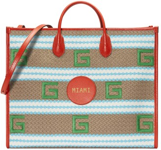 Gucci Miami striped tote bag