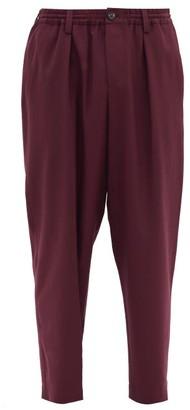 Marni Straight-leg Tropical-wool Twill Trousers - Burgundy