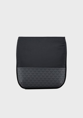 Emporio Armani Flat, Nylon Shoulder Bag With Monogram Inserts