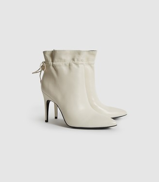 Reiss Russo - Leather Ruched Ankle Boots in White