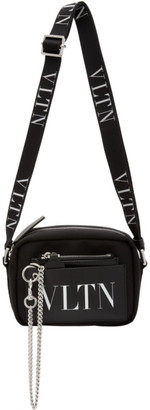 Valentino Black and White Garavani Small VLTN Crossbody Bag