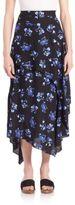 Proenza Schouler Asymmetrical Floral Midi Skirt