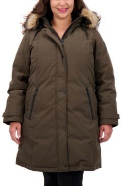 Vince Camuto Plus Size Faux-Fur-Trim Hooded Puffer Coat