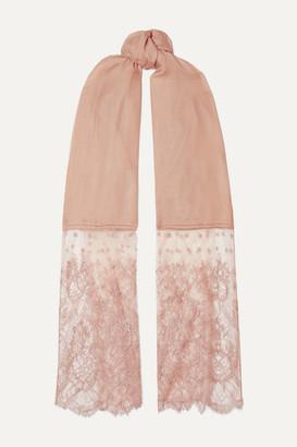Valentino Garavani Lace-paneled Modal And Cashmere-blend Scarf - Blush