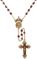 Vatican Necklace, Gold-Tone Cultured Pearl and Crystal Rosary