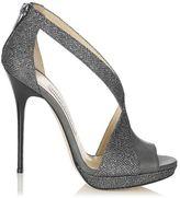 Jimmy Choo Vision Lamé Glitter and Metallic Nappa Sandals