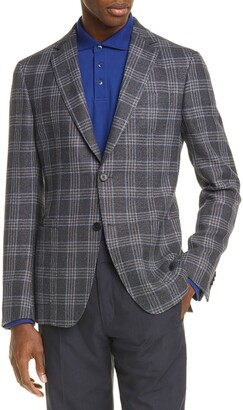 Ermenegildo Zegna Trim Fit Plaid Wool & Linen Sport Coat