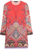 Etro Printed Silk Crepe De Chine Mini Dress - Coral