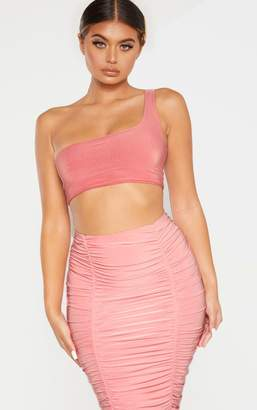 PrettyLittleThing Washed Violet Slinky One Shoulder Crop Top