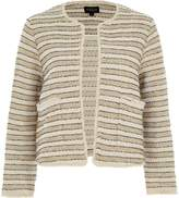 River Island Womens Cream and gold stripe jacket