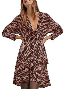 Gerard Darel Tonie Printed Ruffled Dress