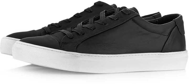 Topman Tux Black Leather Tennis Shoes