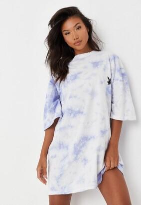 Missguided Playboy X Lilac Tie Dye Oversized T Shirt Dress