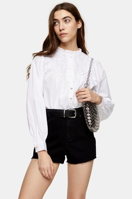 Topshop Womens Poet Embroidered Shirt - White