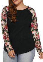 Elfremore Women Long Sleeve Blouse, Floral Printed Round Neck Casual T-Shirt Tops