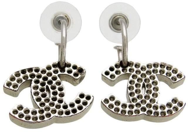 Chanel CC Logo Silver Tone Metal Dangle Stud Earrings
